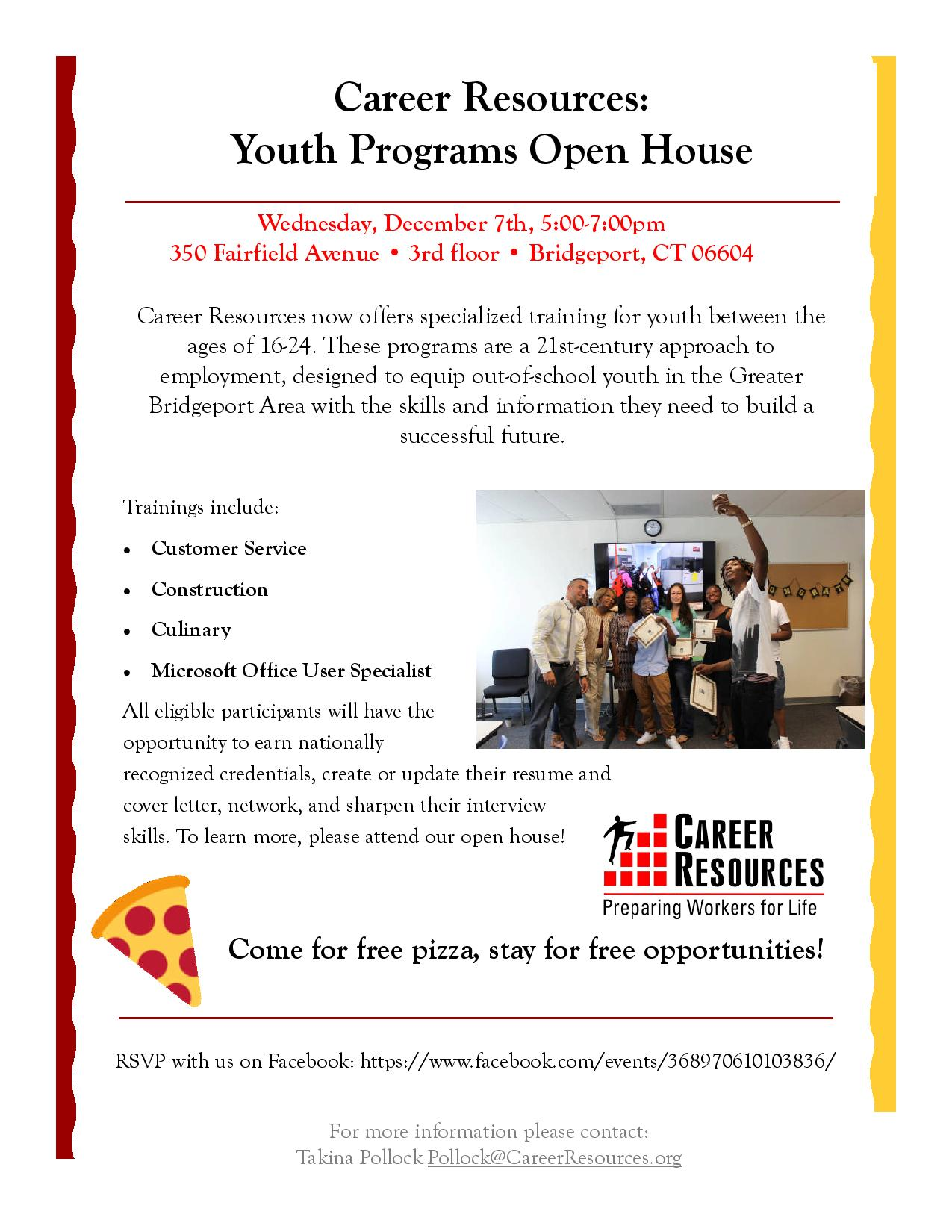 career resources youth programs open house turning point ct career resources youth programs open house
