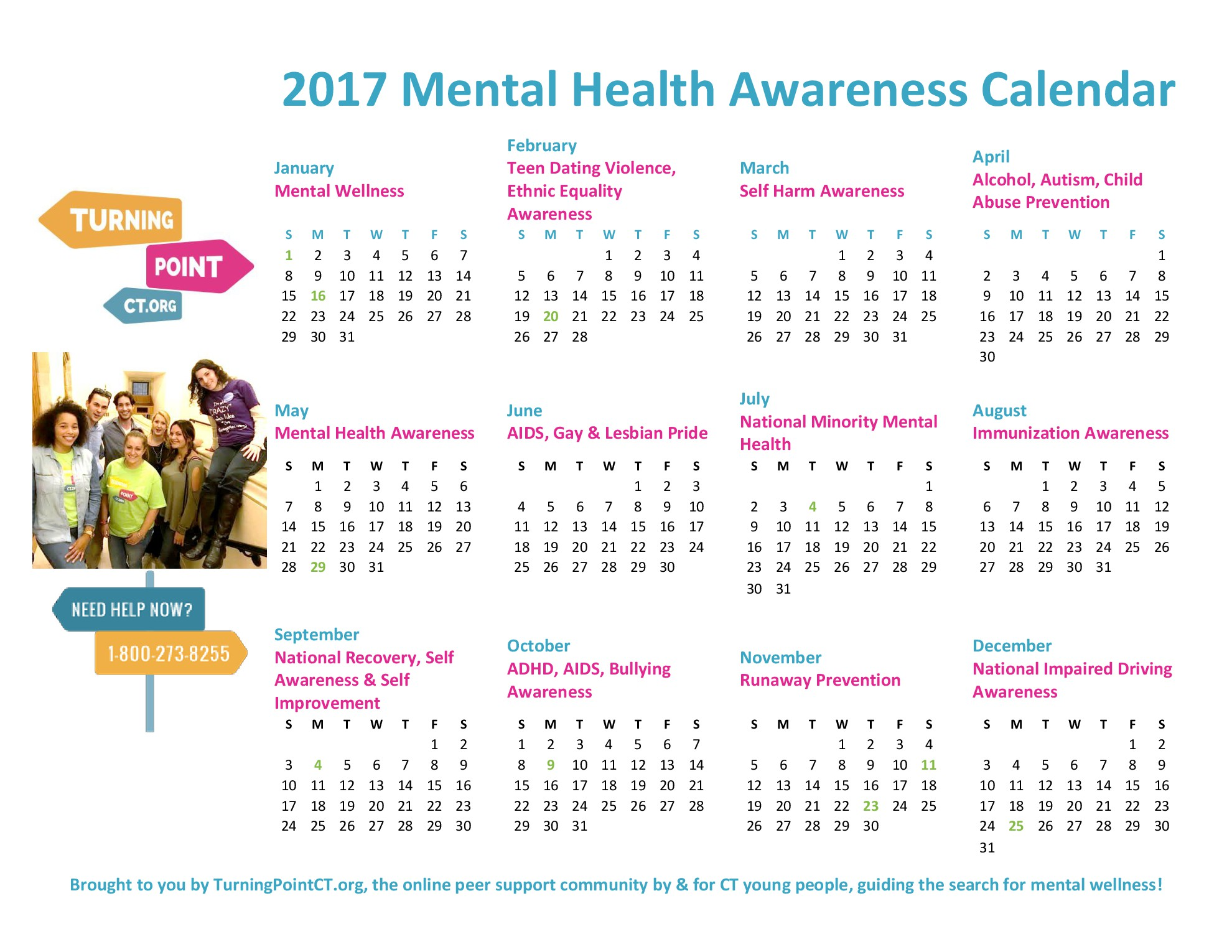 2017 TurningPointCT Mental Health Awareness Calendar